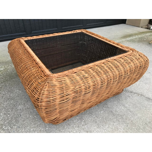Vintage Mid-Century Modern Boho Chic Wicker Coffee Table For Sale - Image 11 of 11