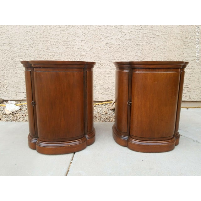 Henredon Walnut Clover Shaped End Tables - A Pair For Sale - Image 9 of 9