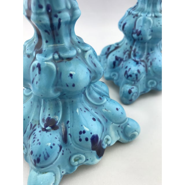 Mid Century Vintage Ceramic Decanter W Matching Candlesticks Set For Sale In Atlanta - Image 6 of 11