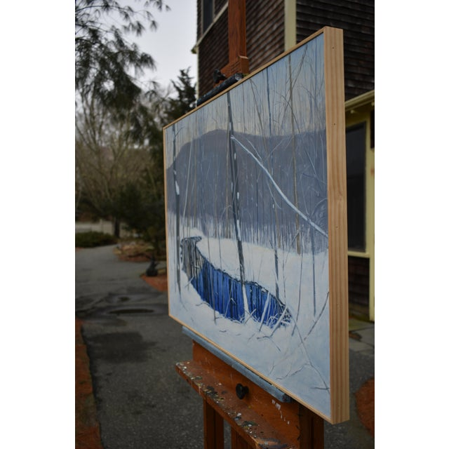 """Blue """"The Pond and the Mountain"""" Painting by Stephen Remick For Sale - Image 8 of 13"""