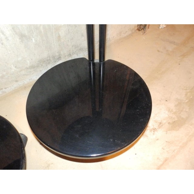 1980s 1980s Contemporary Black Lacquered Cantilevered Cocktail Side Tables - a Pair For Sale - Image 5 of 6