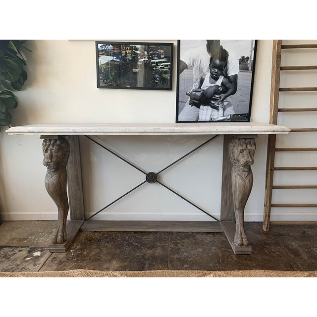 Wood 20th Century Neoclassical Style Marble Console Table For Sale - Image 7 of 7