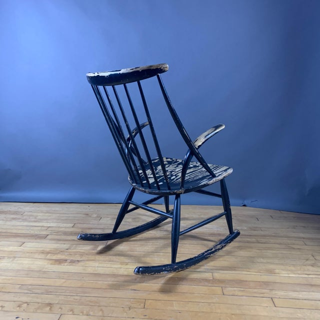 Niels Eilersen Illum Wikkelsø Ebonized Rocking Chair, 1958 Denmark For Sale - Image 4 of 8