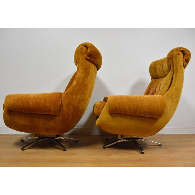 Orange Lounge Chairs & Ottomans - a Pair - Image 4 of 10