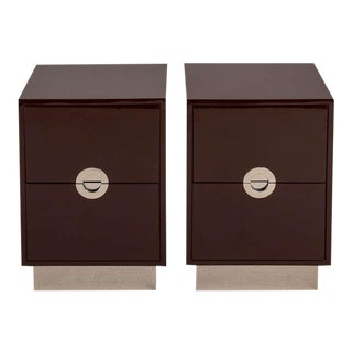 A Customizable Pair of Two Drawer Lacquered Bedside Cabinets by Talisman Bespoke For Sale
