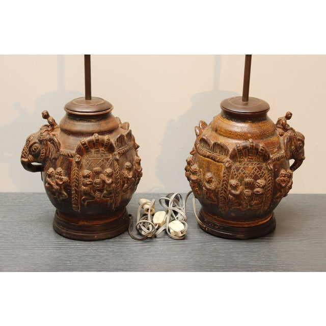 East Indian Elephant Lamps- A Pair For Sale - Image 4 of 11
