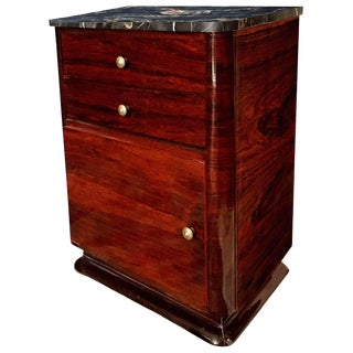 Early 20th Century French Art Deco Rosewood Cabinet With Portoro Marble Top For Sale