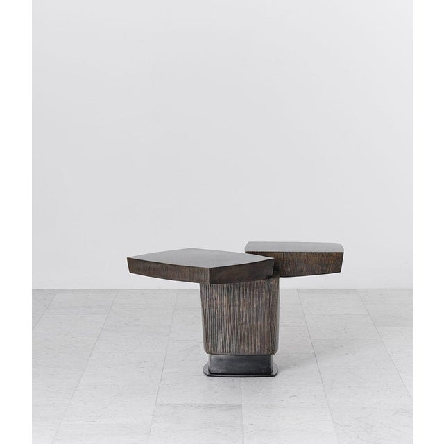 Gary Magakis Gary Magakis, Ledges 2 Patined Steel Side Table, USA, 2016 For Sale - Image 4 of 8