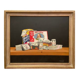 Contemporary Trompe L'oeil Still Life Painting of Cash and a Cigar Box Oil Painting by Richard Newill, Framed For Sale