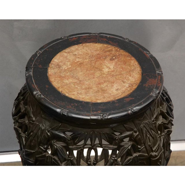 Asian Carved Stand with Marble Inset For Sale - Image 3 of 8