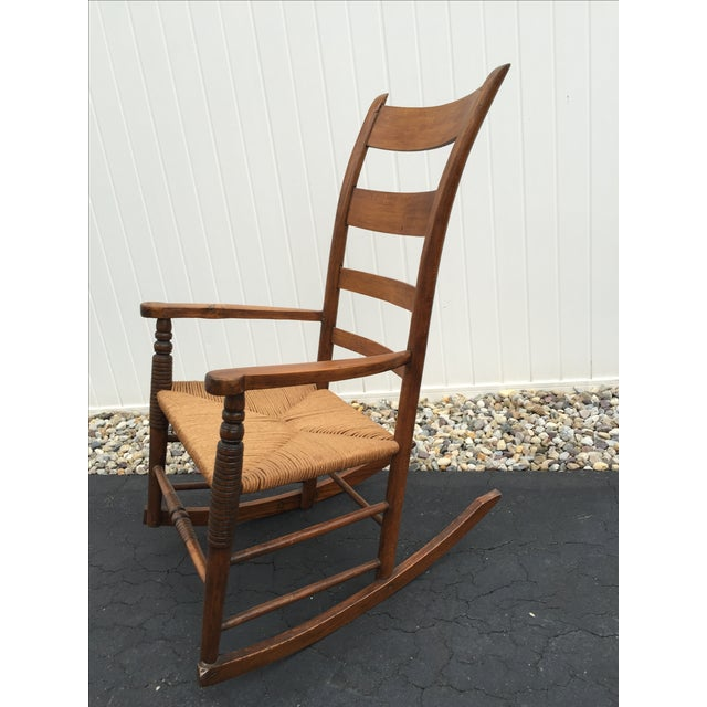 Arts & Crafts Antique Maple Rush Rocking Chair For Sale - Image 3 ... - Antique Maple Rush Rocking Chair Chairish