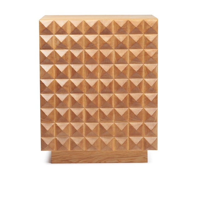 Sabin Custom Rexford Geometic Oak Nightstands - a Pair - Image 5 of 7