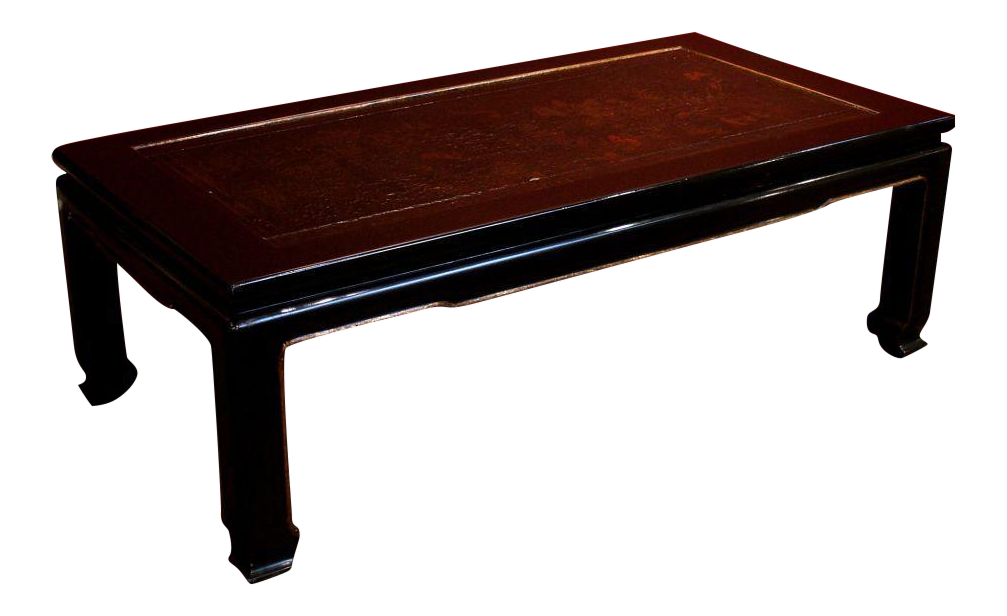 A French Chinoiserie Black Lacquer Coffee Table For Sale