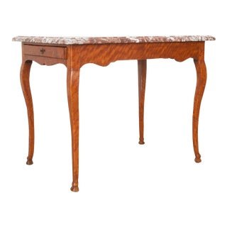 Early 19th Century French Birch Writing Table with Marble Top For Sale