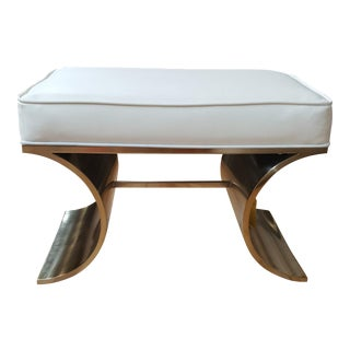 Contemporary Bernhardt Jet Brass and Leather Bench For Sale