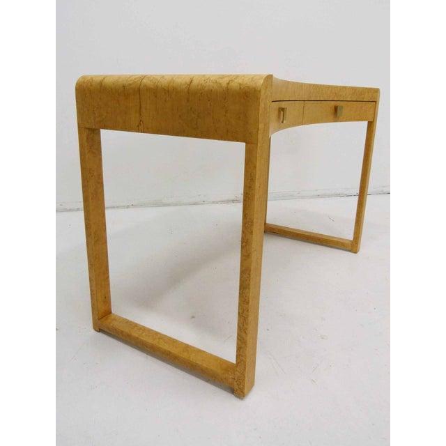 Birds Eye Maple Burl Wood Desk & Bench - Image 6 of 11