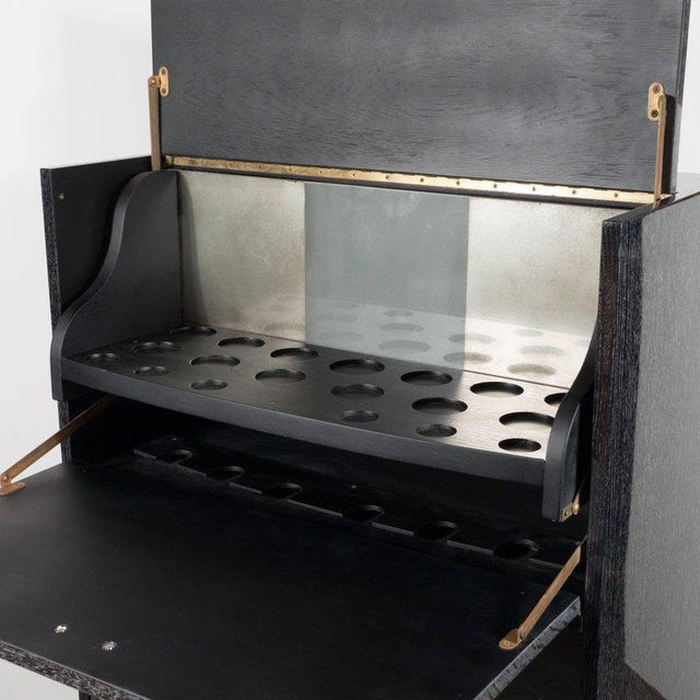 Mid-Century Modern Silver Cerused Oak Dry Bar with Nickeled Pulls For Sale In New York - Image 6 of 11