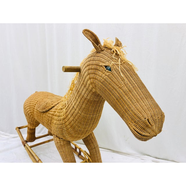 Vintage Wicker & Rattan Rocking Horse For Sale In Raleigh - Image 6 of 12
