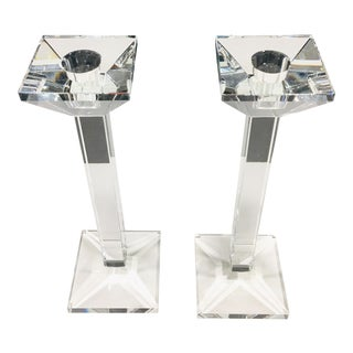 Pair Oleg Cassini Crystal Candle Holders - a Pair For Sale
