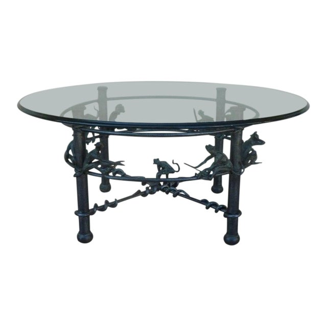 Vintage Wrought Iron Monkeys Coffee Table For Sale