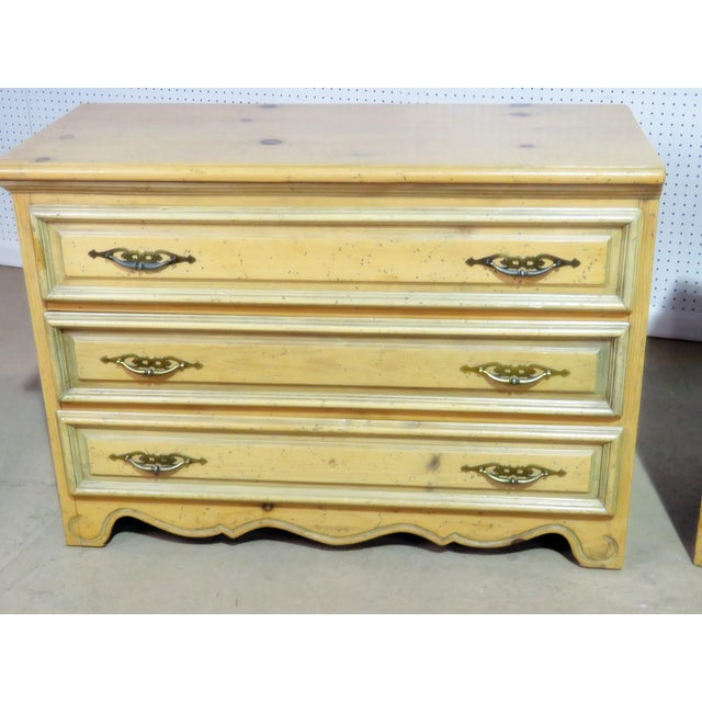 Pair of Pine 3 drawer commodes.