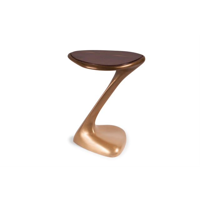 Not Yet Made - Made To Order Palm Side Table Gold Finish With Walnut Top For Sale - Image 5 of 9