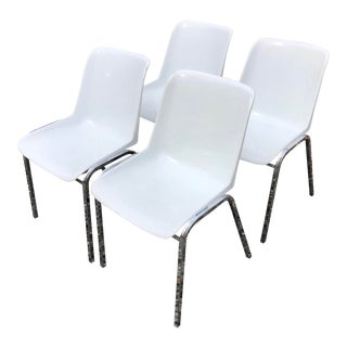 Vintage Molded Plastic & Chrome Stacking Chairs - Set of 4 For Sale