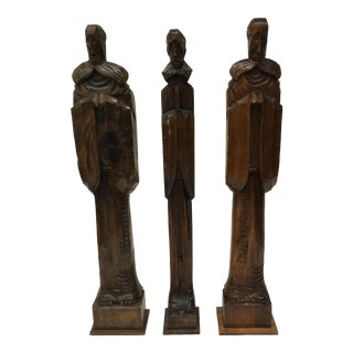 Mid-Century Carved Wood Sculptures - Set of 3