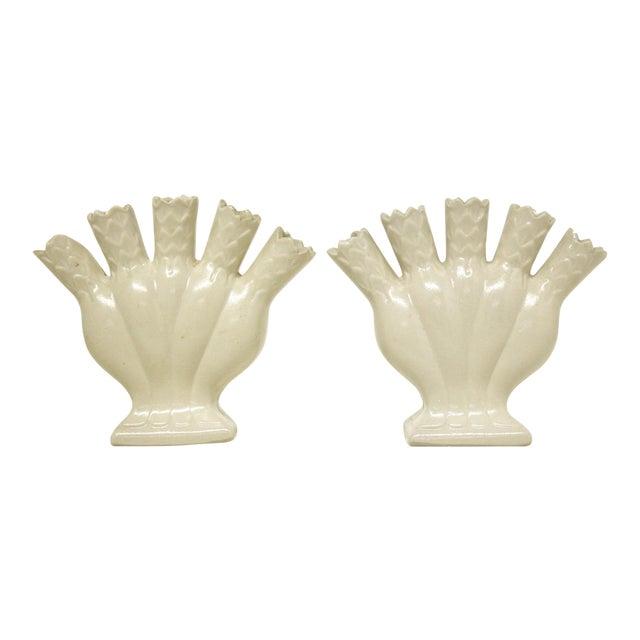 Salt Glaze Ceramic Tulipiere Vases, Pair For Sale