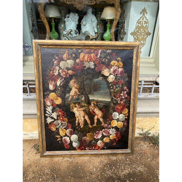 "17th C. Italian Flemish Cherub Painting With Floral Wreath Motif Canvas: 40 1/2 "" H 34"" W"