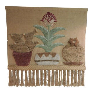 Vintage Boho-Chic Wall Hanging with Fringes For Sale