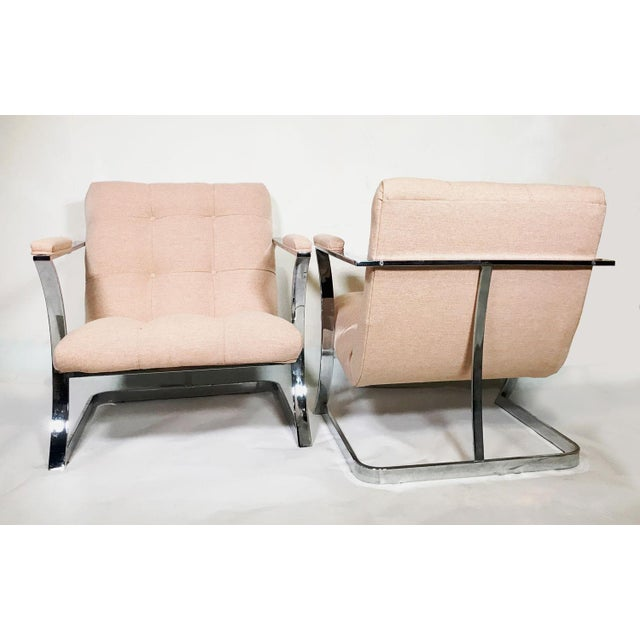 Contemporary 1970s Vintage Milo Baughman for Carson's Cubist Floating Sling Chairs- A Pair For Sale - Image 3 of 5