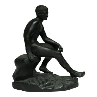 "Bronze and Copper Sculpture of ""Seated Hermes"" C.1920 For Sale"