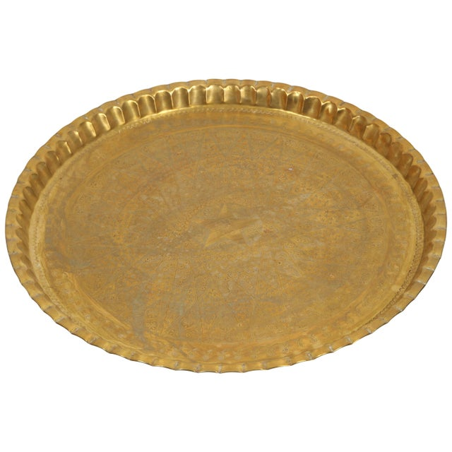 Large Syrian Hand-Hammered Brass Tray For Sale - Image 10 of 10