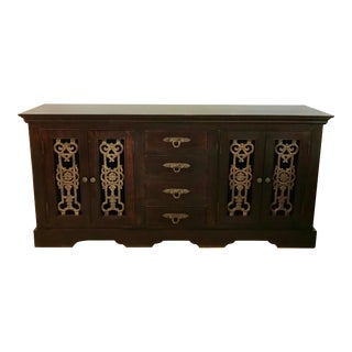 Vintage Wood Southeast Asian Handmade Sideboard With Iron Details For Sale