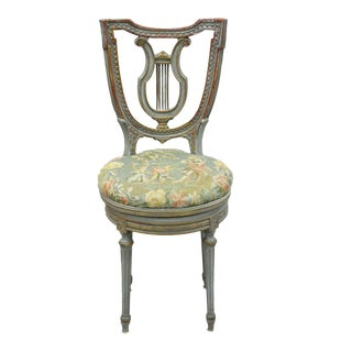 French Louis XVI Style Blue and Red Harp Lyre Back Swivel Vanity Chair For Sale