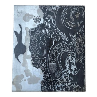 Vintage Abstract Folk Art Etching Metal Panel For Sale