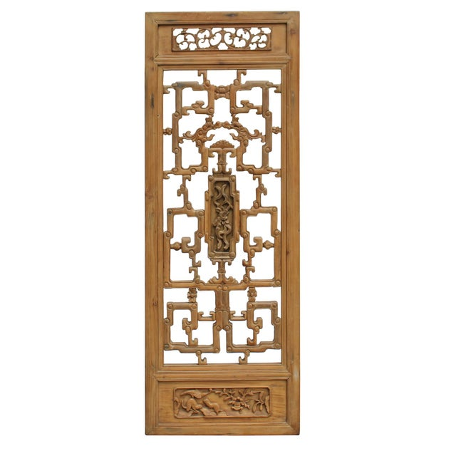Chinese Vintage Light Brown Relief Motif Wood Wall Hanging Art For Sale - Image 4 of 10