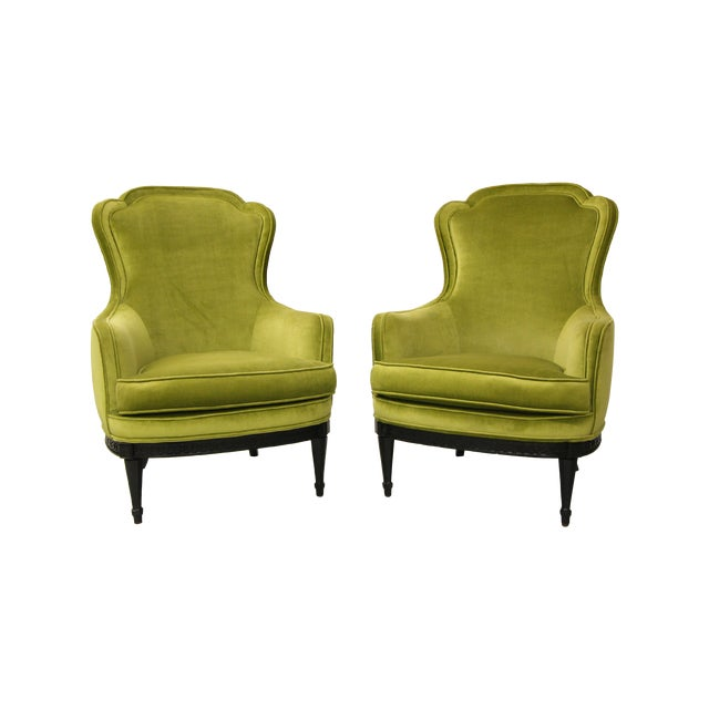 Mid Century Bergere Parlor Chairs - Pair - Image 1 of 7