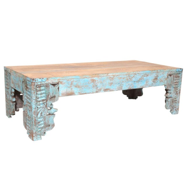 Turquoise Carved Peacock Coffee Table - Image 2 of 2