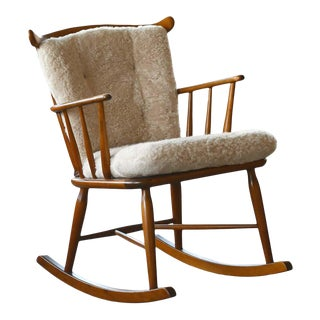 Farstrup 1950s Low Spindle Back Rocking Chair With Shearling Cushions For Sale