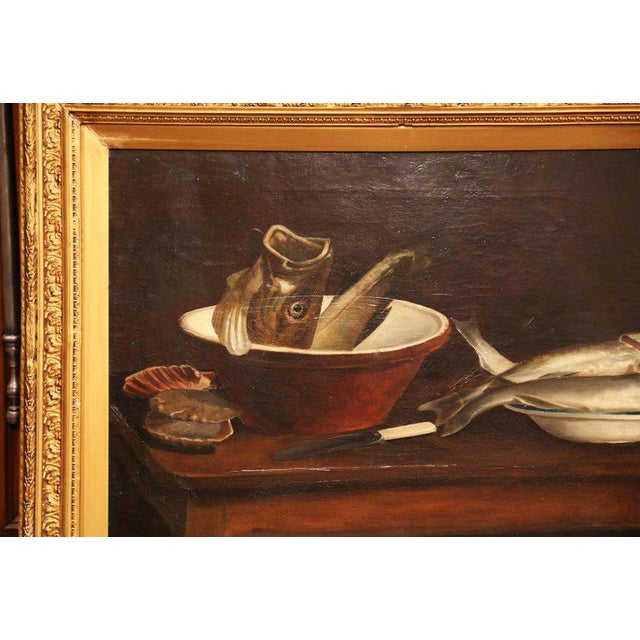 This antique, kitchen still life painting was painted in England in the 19th century. Signed on the bottom left corner and...