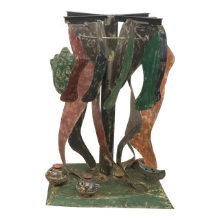 Artist Made Vintage Painted Metal Figurative Abstract Legs Sculptural Table For Sale