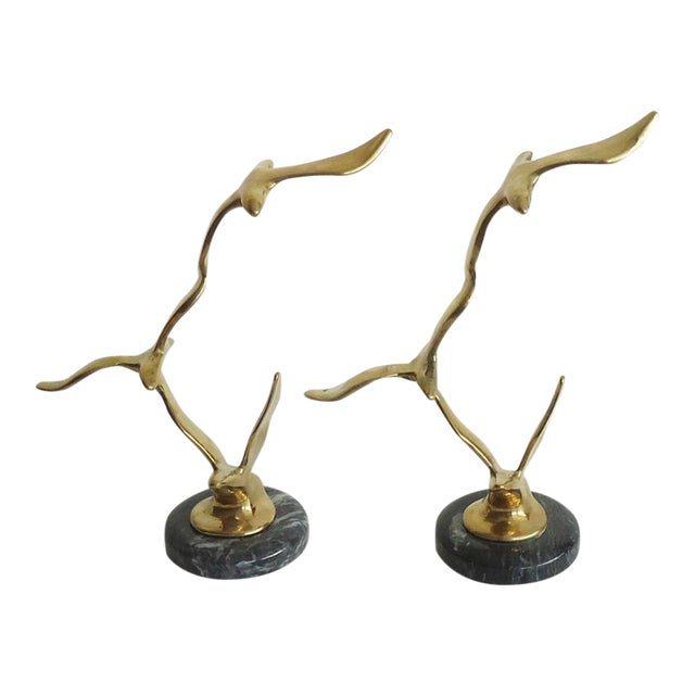 Brass Modernist Seagull Sculptures on Marble Bases - a Pair For Sale
