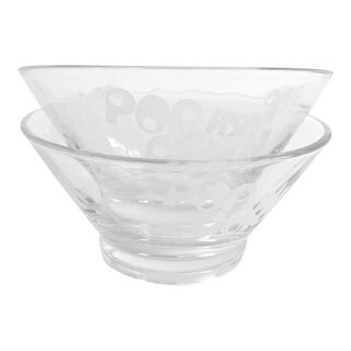 1970s Minimalist Wheaton Glass Popcorn Bowls - a Pair For Sale