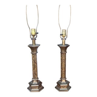 Pair Vintage Brass & Brass Patina Religious Looking Table Lamps C1960s For Sale