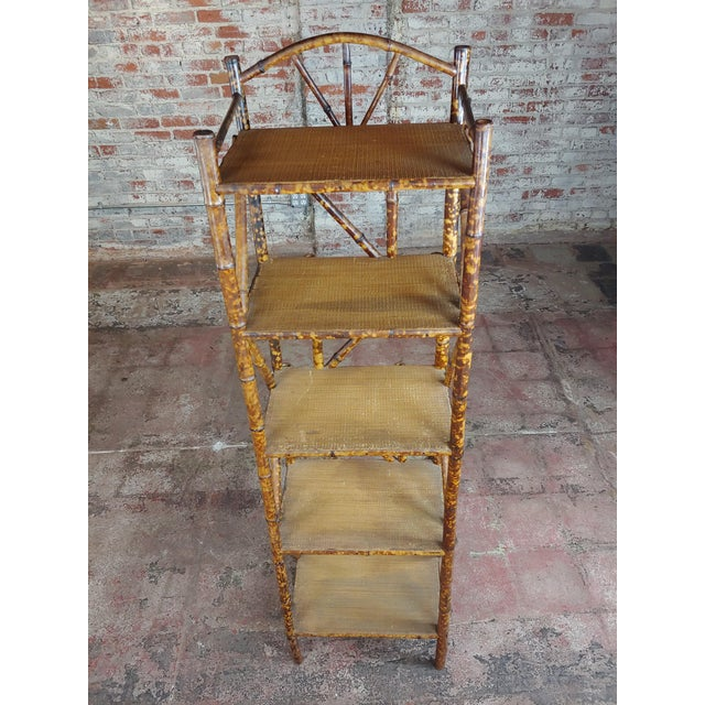 19th Century Original Victorian 5 Tier Bamboo Bookstand For Sale - Image 4 of 9