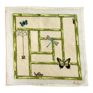 Faux Bamboo Needlepoint Canvas With Butterfly & Insects For Sale