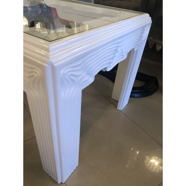 1970s Vintage Modern White Lacquered Wavy End Side Tables -A Pair For Sale - Image 5 of 13