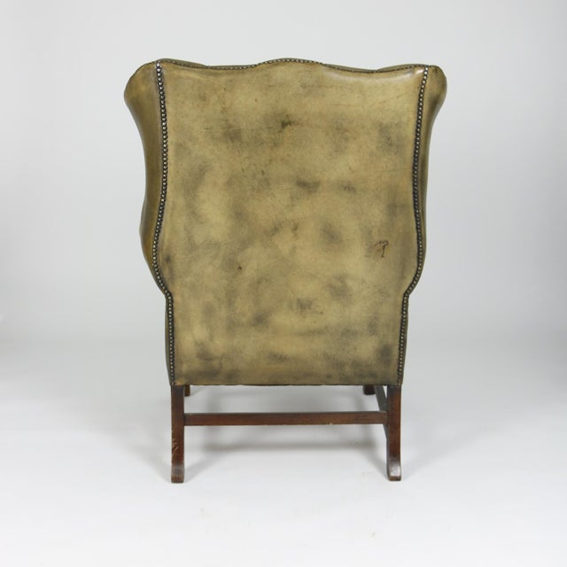Late 19th Century Mahogany and Original Tufted Green Leather Wing Chair For Sale In San Francisco - Image 6 of 13